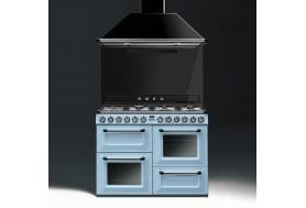 Голяма свободно стояща печка 110см SMEG TR4110AZ1 с три фурни и 7 газови котлони в цвят пастелено синьо SMEG TR4110AZ1