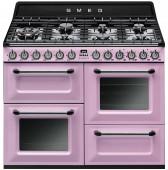 Голяма свободно стояща печка 110см SMEG TR4110RO с три фурни и 7 газови котлони в цвят розово SMEG TR4110RO