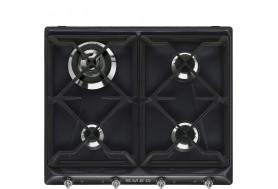 Ретро газов плот за вграждане SMEG серия Victoria SR964NGH в черен цвят с хром и чугунени решетки