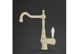 Смесител за кухня в ретро дизайн MIR6P-2 в крем с бяла керамика