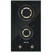 Плот за вграждане газов с две зони SMEG PC32GNO серия Classica в черно стъкло с месинг
