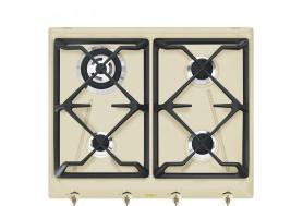 Газов котлон за вграждане SMEG от ретро серията Coloniale SRV864POGH в крем с аскесоари от състарен месинг
