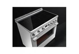 Голяма свободно стояща печка SMEG CPF9IPOR с голяма 90см фурна и 5 индукционни котлона в оранжево и неръждаема стомана