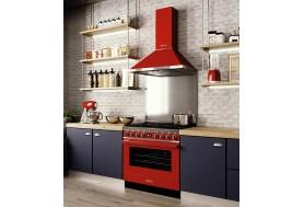 Голяма свободно стояща печка SMEG CPF9GPR с голяма 90см фурна и 6 газови котлона в червено и неръждаема стомана
