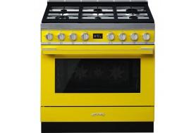 Голяма свободно стояща печка SMEG CPF9GPYW с голяма 90см фурна и 6 газови котлона в жълто и неръждаема стомана