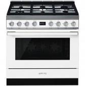 Голяма свободно стояща печка SMEG CPF9GPWH с голяма 90см фурна и 6 газови котлона в бяло и неръждаема стомана