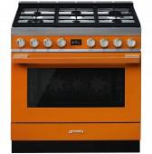 Голяма свободно стояща печка SMEG CPF9GPOR с голяма 90см фурна и 6 газови котлона в оранжево и неръждаема стомана