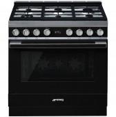 Голяма свободно стояща печка SMEG CPF9GPBL с голяма 90см фурна и 6 газови котлона в черно и неръждаема стомана