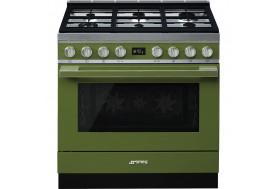 Голяма свободно стояща печка SMEG CPF9GPOG с голяма 90см фурна и 6 газови котлона в маслинено зелено и неръждаема стомана