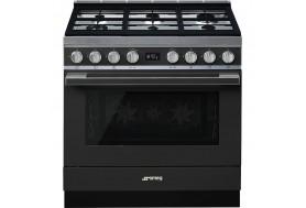 Голяма свободно стояща печка SMEG CPF9GPAN с голяма 90см фурна и 6 газови котлона в антрацит и неръждаема стомана