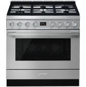 Голяма свободно стояща печка SMEG CPF9GPX с голяма 90см фурна и 6 газови котлона в инокс - неръждаема стомана