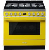 Голяма свободно стояща печка SMEG CPF9GMYW с голяма 90см фурна и 6 газови котлона в жълто и неръждаема стомана
