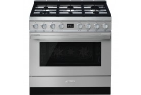 Голяма свободно стояща печка SMEG CPF9GMX с голяма 90см фурна и 6 газови котлона в инокс - неръждаема стомана