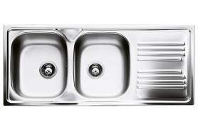 Голяма мивка от неръждаема стомана SMEG LYP116D с две корита и отцедник
