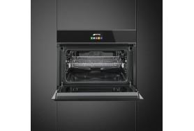 Комбинирана фурна и микровълнова за вграждане SMEG Dolce Stil Novo SF4604MCNX в черно стъкло и иноксови профили