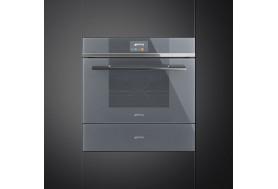 Затоплящо чекмедже SMEG от модерната серия Linea CPR115S в сиво стъкло и инокс