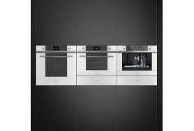 Затоплящо чекмедже SMEG от модерната серия Linea CPR115B в бяло стъкло и инокс