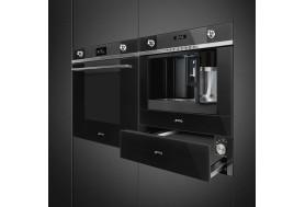Затоплящо чекмедже SMEG от модерната серия Linea CPR115N в черно стъкло и инокс