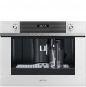 Автоматична кафе машина - кафе автомат SMEG CMS4101B в бяло стъкло и неръждаема стомана