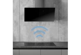 Стенен аспиратор за монтаж на стена SMEG KICV90BL  черно стъкло, много мощен