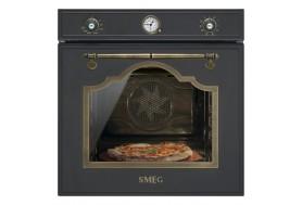 Пиролитична фурна за вграждане SMEG CORTINA SFP750AOPZ в антрацит и месинг с камък за пица