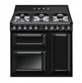 Голяма свободно стояща печка SMEG TR93BL с три фурни и 6 газови котлона в черно