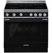 Голяма свободно стояща печка SMEG CPF9IPBL с голяма 90см фурна и 5 индукционни котлона в черно и неръждаема стомана
